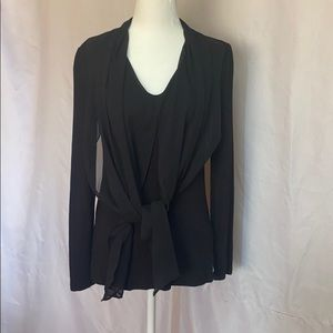 Vince Camuto Black Tie front long sleeve Top